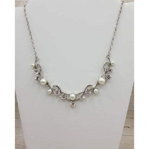 Paparazzi Silver, pearl, and rhinestone necklace